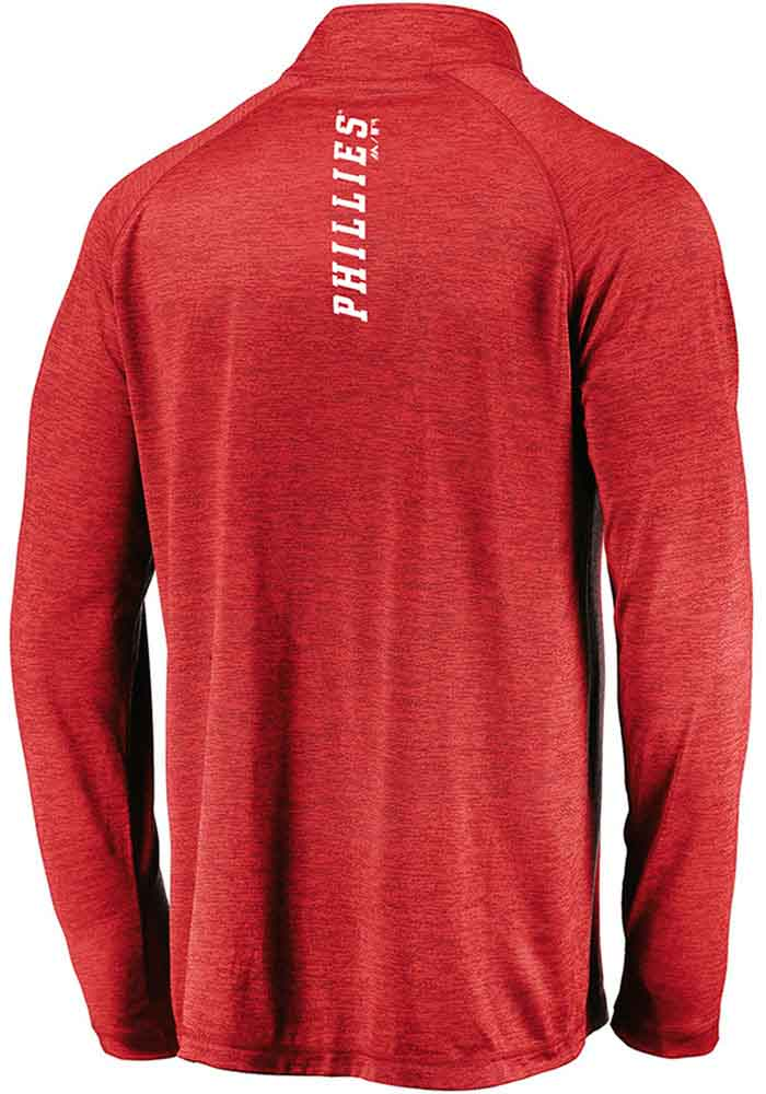 Majestic Philadelphia Phillies Mens Red Contenders Welcome Long Sleeve 1/4 Zip Pullover - Image 2