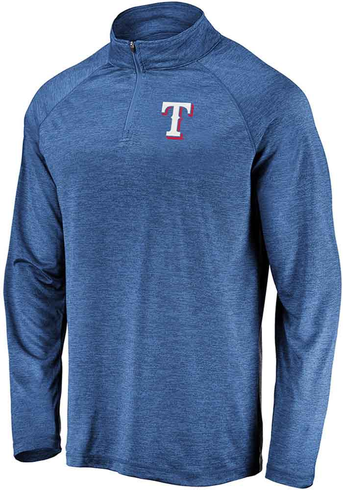 Majestic Texas Rangers Mens Blue Contenders Welcome Long Sleeve 1/4 Zip Pullover - Image 1