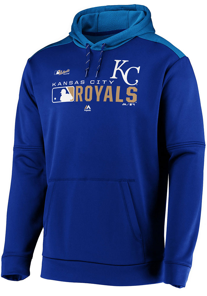 Majestic Kansas City Royals Mens Blue Authentic Players Hood - Image 1