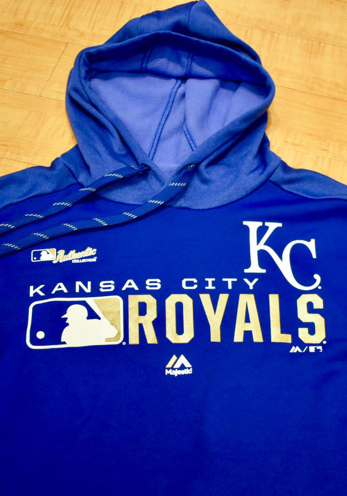 Majestic Kansas City Royals Mens Blue Authentic Players Hood - Image 2