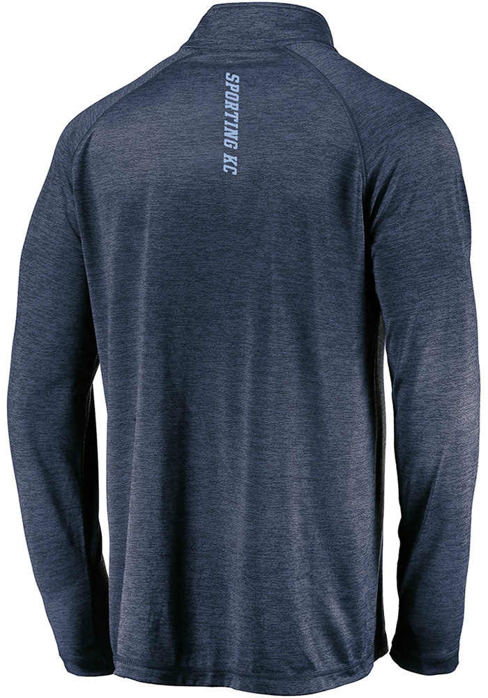 Sporting Kansas City Mens Navy Blue Contenders Welcome Long Sleeve 1/4 Zip Pullover - Image 2