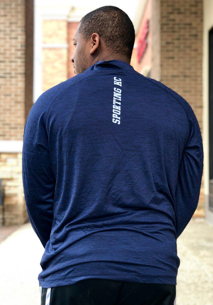 Sporting Kansas City Mens Navy Blue Contenders Welcome Long Sleeve 1/4 Zip Pullover - Image 4