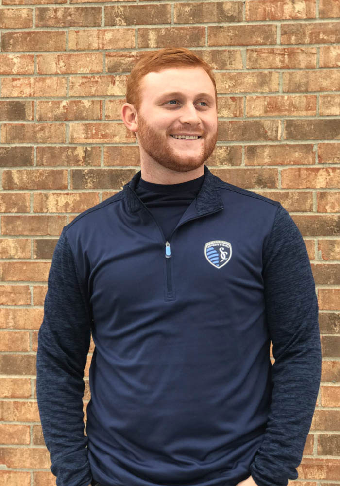 Sporting Kansas City Mens Navy Blue Practice Makes Perfect Long Sleeve 1/4 Zip Pullover - Image 2