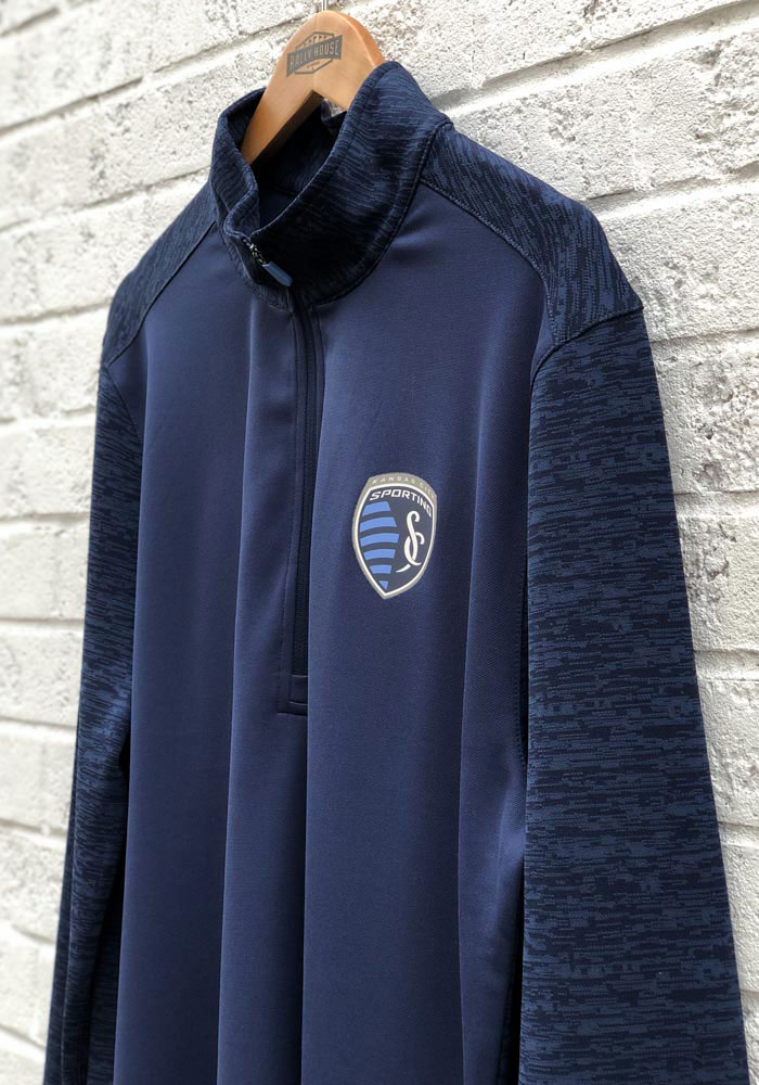 Sporting Kansas City Mens Navy Blue Practice Makes Perfect Long Sleeve 1/4 Zip Pullover - Image 3