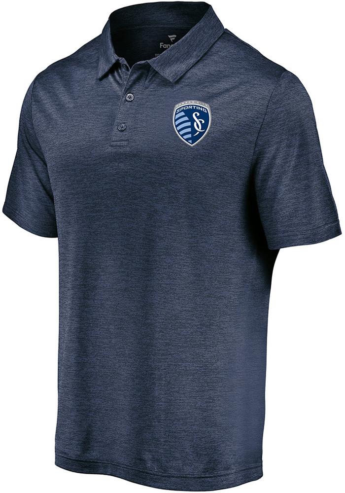 Sporting Kansas City Mens Navy Blue Positive Production Short Sleeve Polo - Image 1