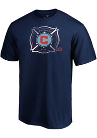 Chicago Fire Slash And Dash T Shirt - Navy Blue