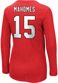 Patrick Mahomes Kansas City Chiefs Womens Fair Catch Crew Neck Long Sleeve T-Shirt - Red