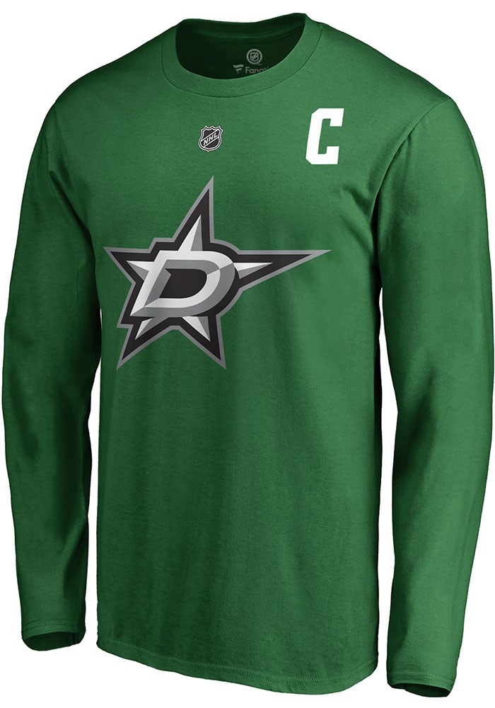 Jamie Benn Dallas Stars Green Name & Number Long Sleeve Player T Shirt - Image 3