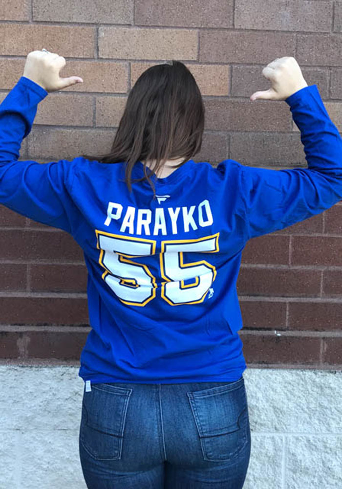 Colton Parayko St Louis Blues Blue Name & Number Long Sleeve Player T Shirt - Image 5