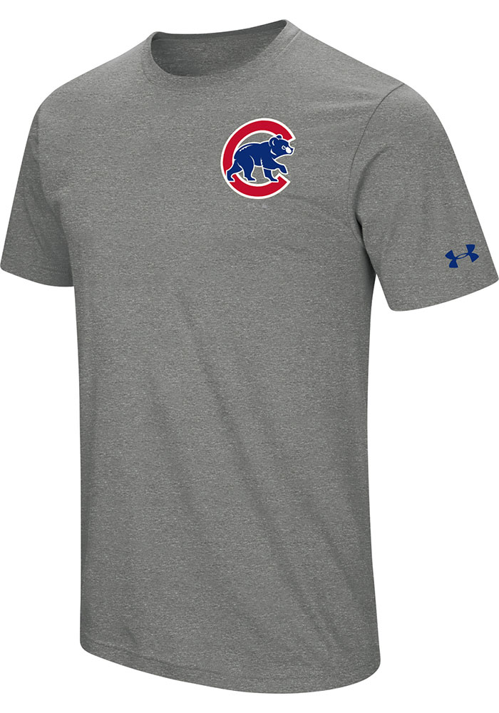 Chicago Cubs Under Armour Wordmark Core T Shirt - Grey