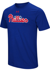 Philadelphia Phillies Under Armour Wordmark Core T Shirt - Blue