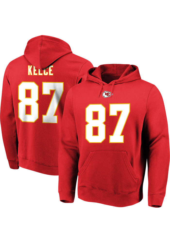 Travis Kelce Majestic Kansas City Chiefs Mens Red Name & Number Long Sleeve Hoodie - Image 1
