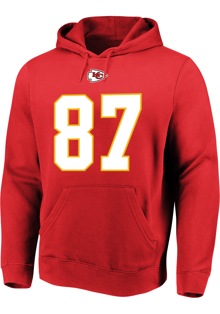Travis Kelce Majestic Kansas City Chiefs Mens Red Name & Number Long Sleeve Hoodie - Image 2