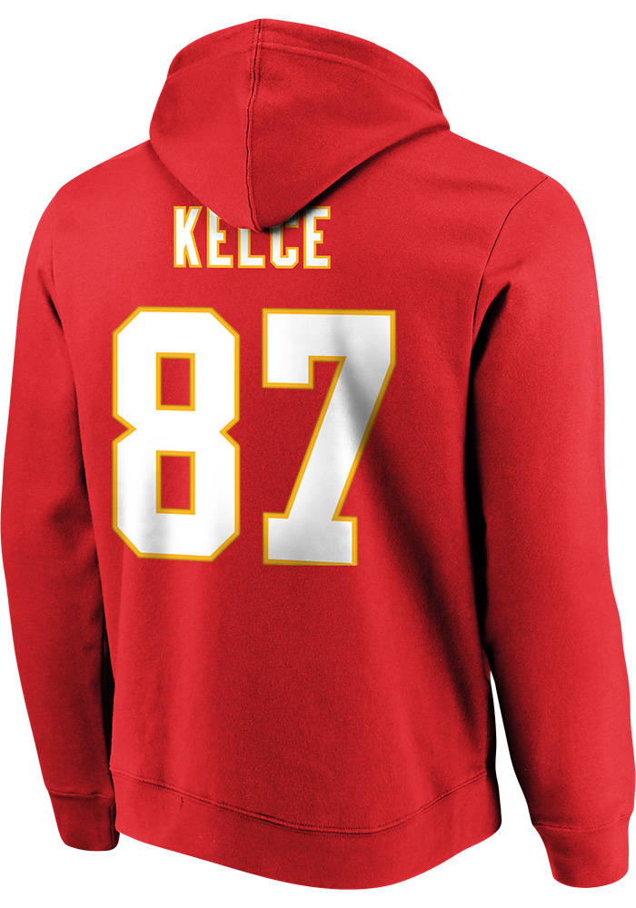 Travis Kelce Majestic Kansas City Chiefs Mens Red Name & Number Long Sleeve Hoodie - Image 3