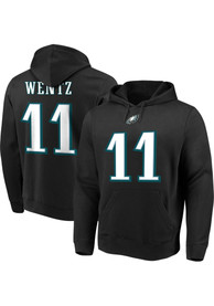 Carson Wentz Philadelphia Eagles Majestic Name Number Long Sleeve T-Shirt - Black