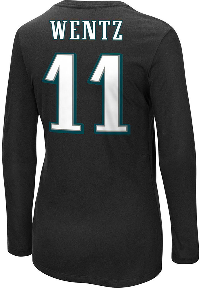 Carson Wentz Philadelphia Eagles Womens Black Fair Catch Crew Neck Long Sleeve Player T Shirt - Image 1