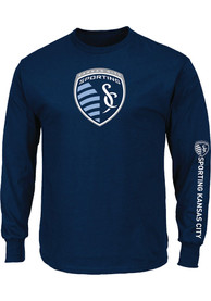 Sporting Kansas City Majestic Primary Logo T Shirt - Navy Blue