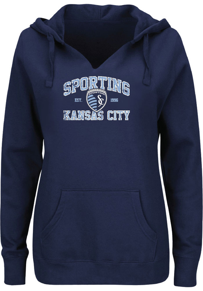 Majestic Sporting Kansas City Womens Navy Blue Great Achievement Hooded Sweatshirt - Image 1