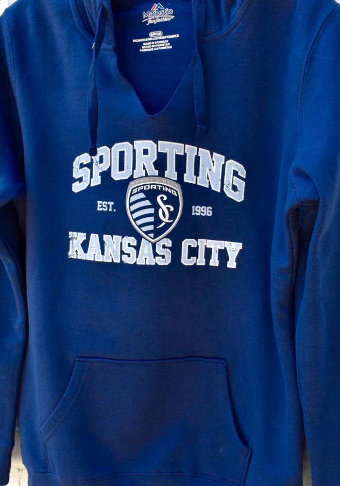 Majestic Sporting Kansas City Womens Navy Blue Great Achievement Hooded Sweatshirt - Image 2