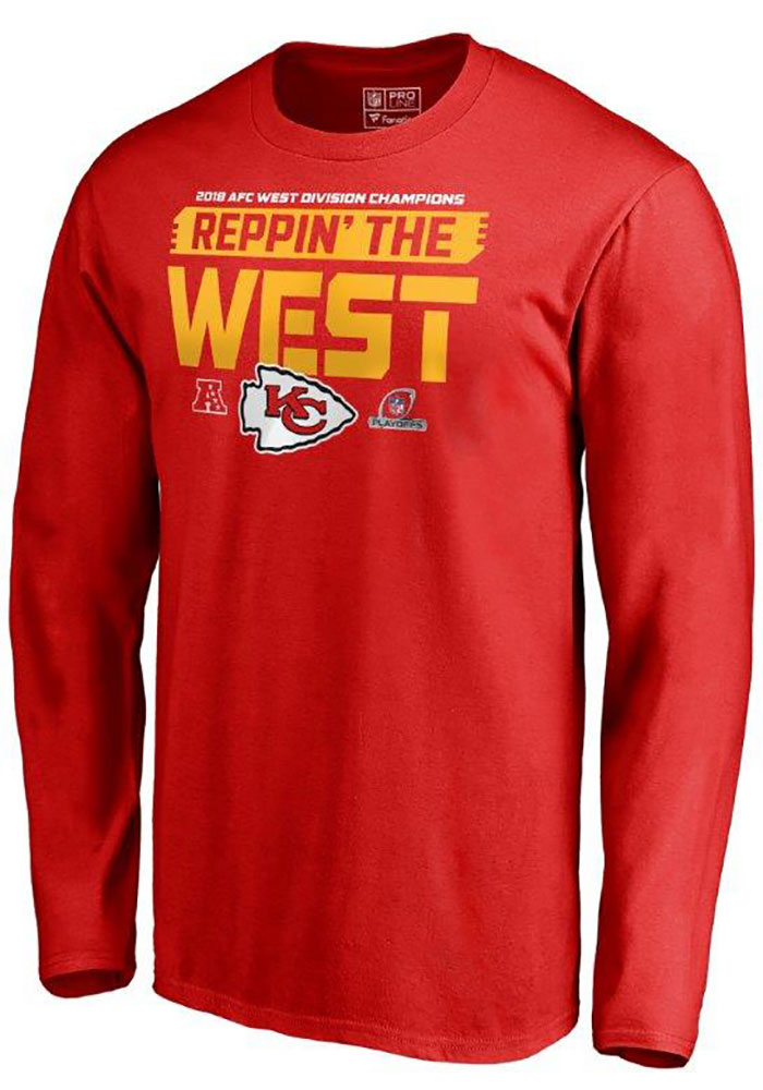 Majestic Kansas City Chiefs Red 2018 Division Champs Fair Catch Long Sleeve T Shirt - Image 1