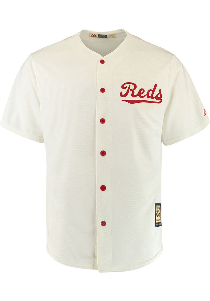 Cincinnati Reds Mens Majestic Replica 1936 Throwback Jersey - White - Image 1