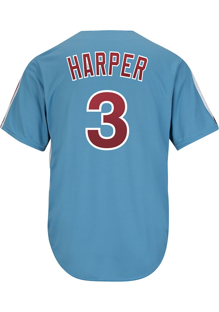 Bryce Harper Philadelphia Phillies Mens Replica Throwback Jersey - Light Blue - Image 1