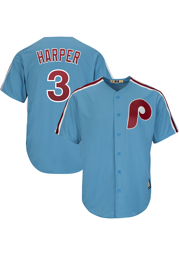 Bryce Harper Philadelphia Phillies Mens Replica Throwback Jersey - Light Blue - Image 3