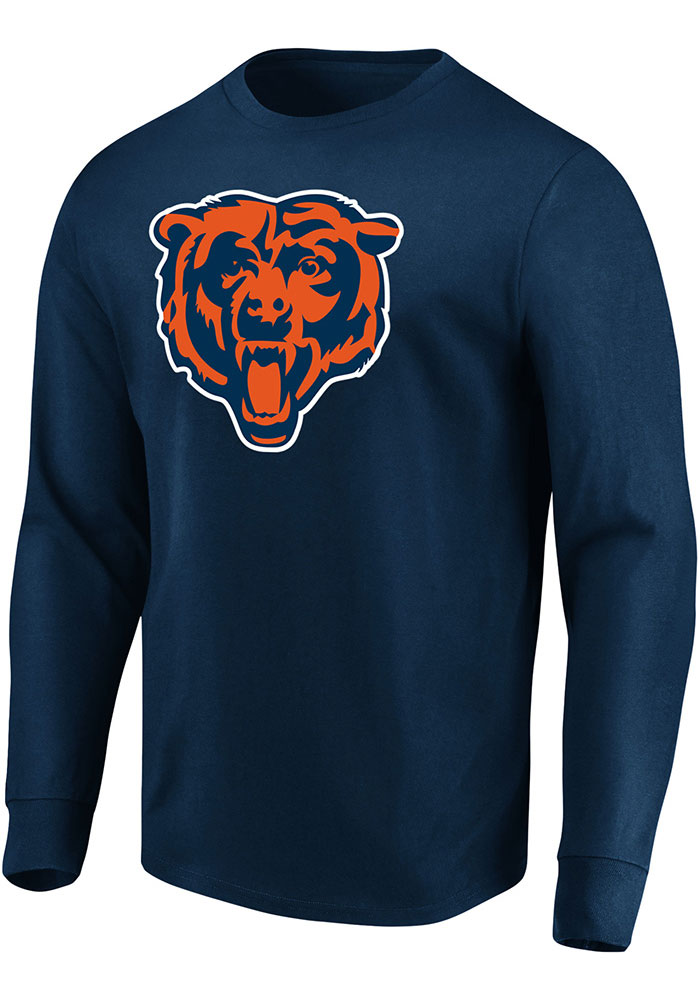 Majestic Chicago Bears Navy Blue Perfect Play Long Sleeve T Shirt - Image 1