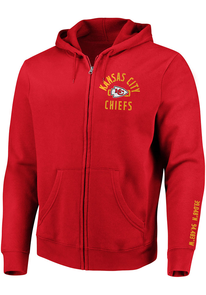 Kansas City Chiefs Mens Red Stencil Arch Long Sleeve Full Zip Jacket - Image 1