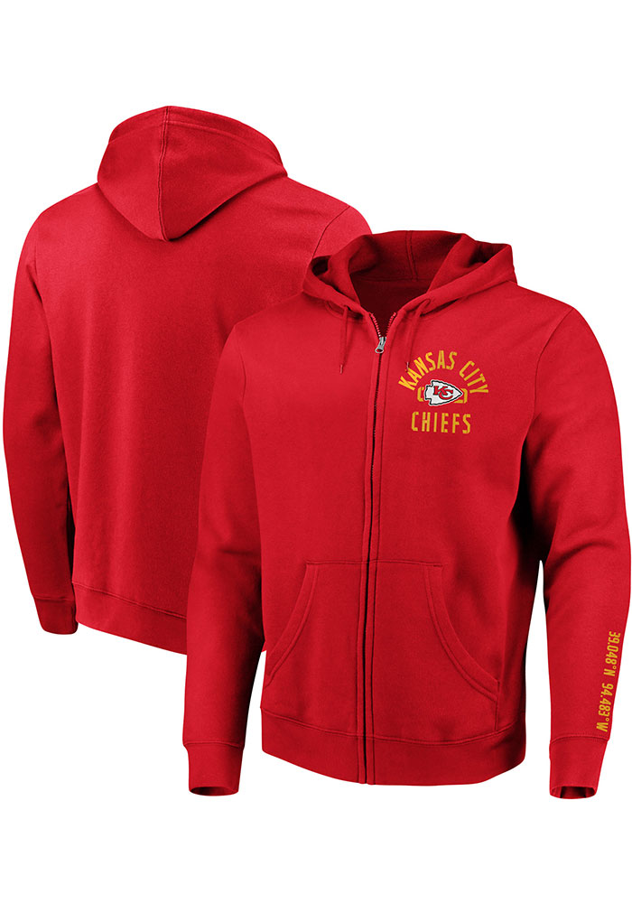 Kansas City Chiefs Mens Red Stencil Arch Long Sleeve Full Zip Jacket - Image 3