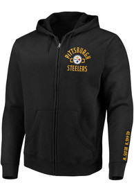 Pittsburgh Steelers Stencil Arch Full Zip Jacket - Black