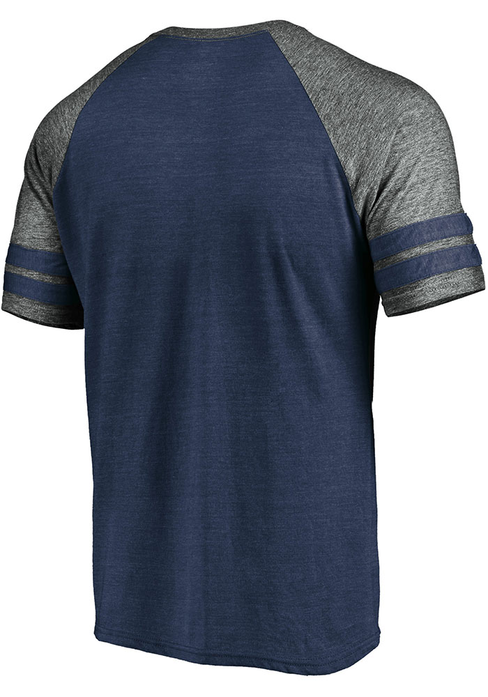 Chicago Bears Navy Blue Retro Arch Helmet Short Sleeve Fashion T Shirt - Image 2