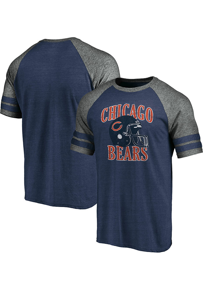 Chicago Bears Navy Blue Retro Arch Helmet Short Sleeve Fashion T Shirt - Image 3