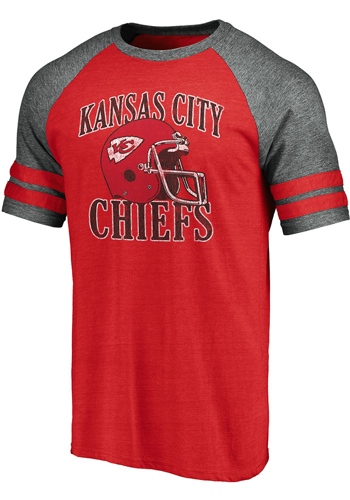 Kansas City Chiefs Red Retro Arch Helmet Short Sleeve Fashion T Shirt - Image 1