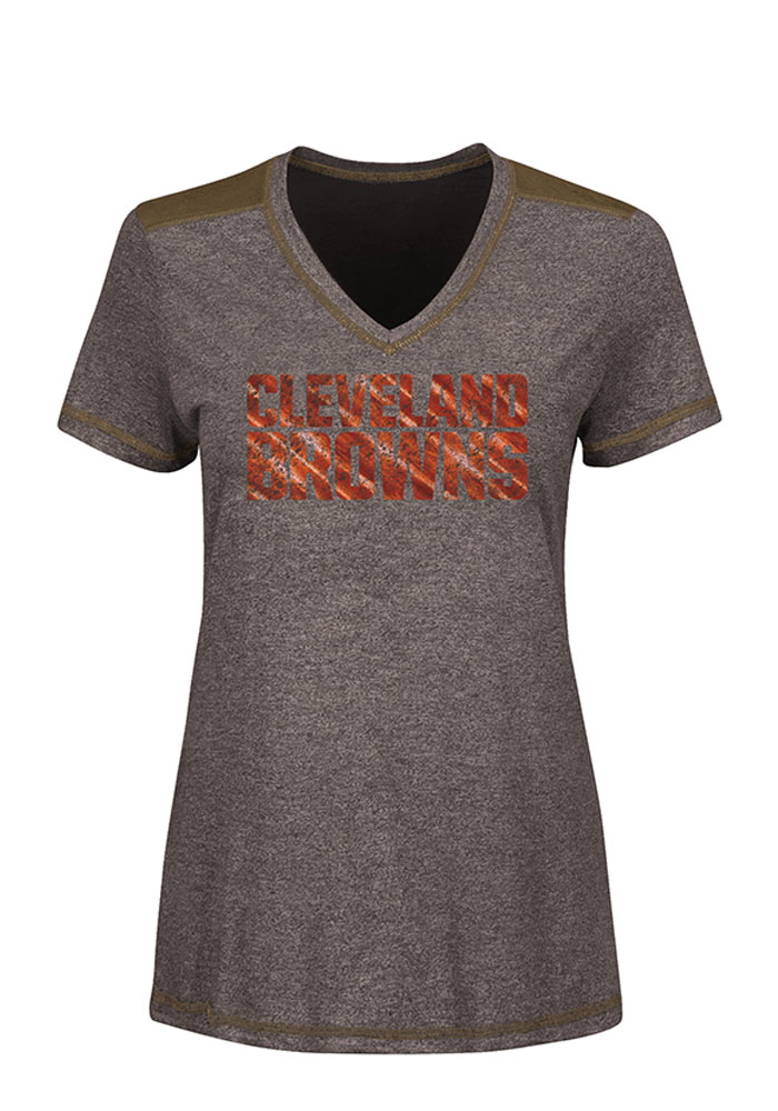 Cleveland Browns Womens Brown Bright Lights V-Neck T-Shirt - Image 1