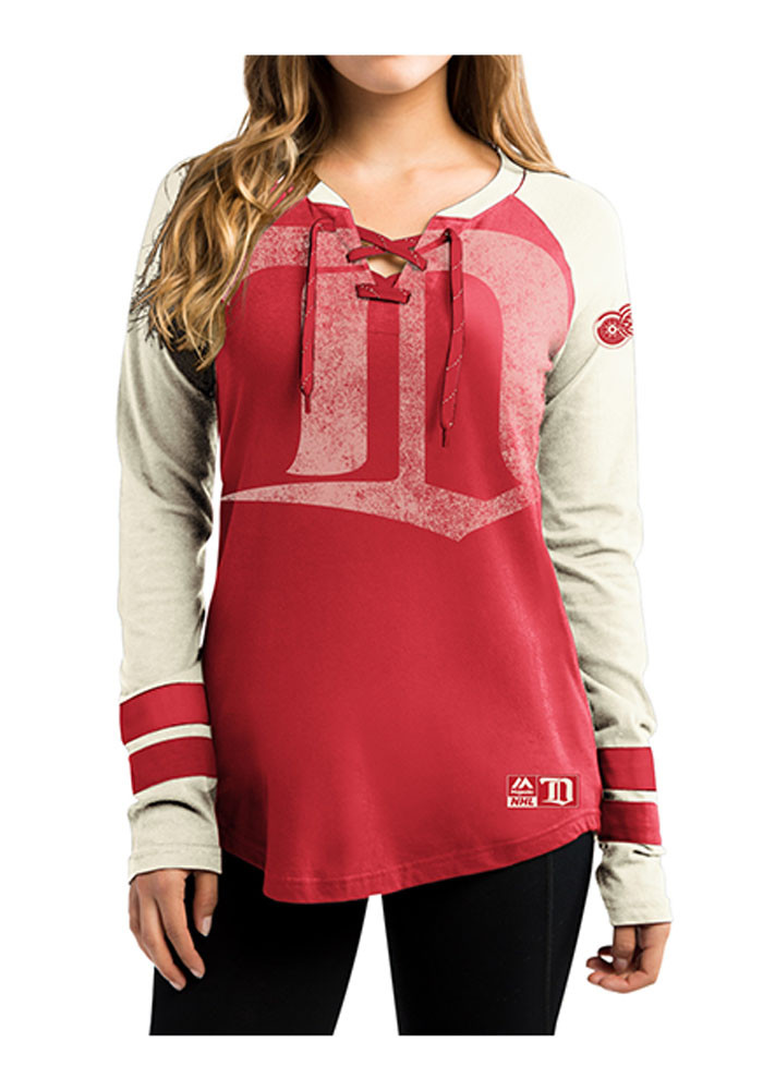 Detroit Red Wings Womens Red Vintage Hip Check Long Sleeve T-Shirt - Image 1
