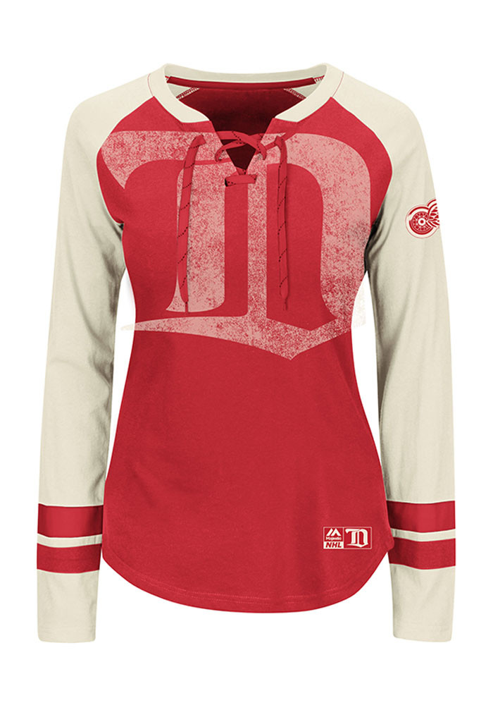 Detroit Red Wings Womens Red Vintage Hip Check Long Sleeve T-Shirt - Image 2