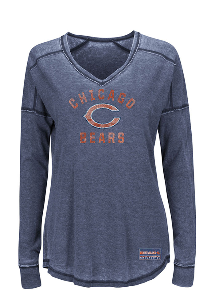 Chicago Bears Womens Grey Victory Play Long Sleeve T-Shirt - Image 1