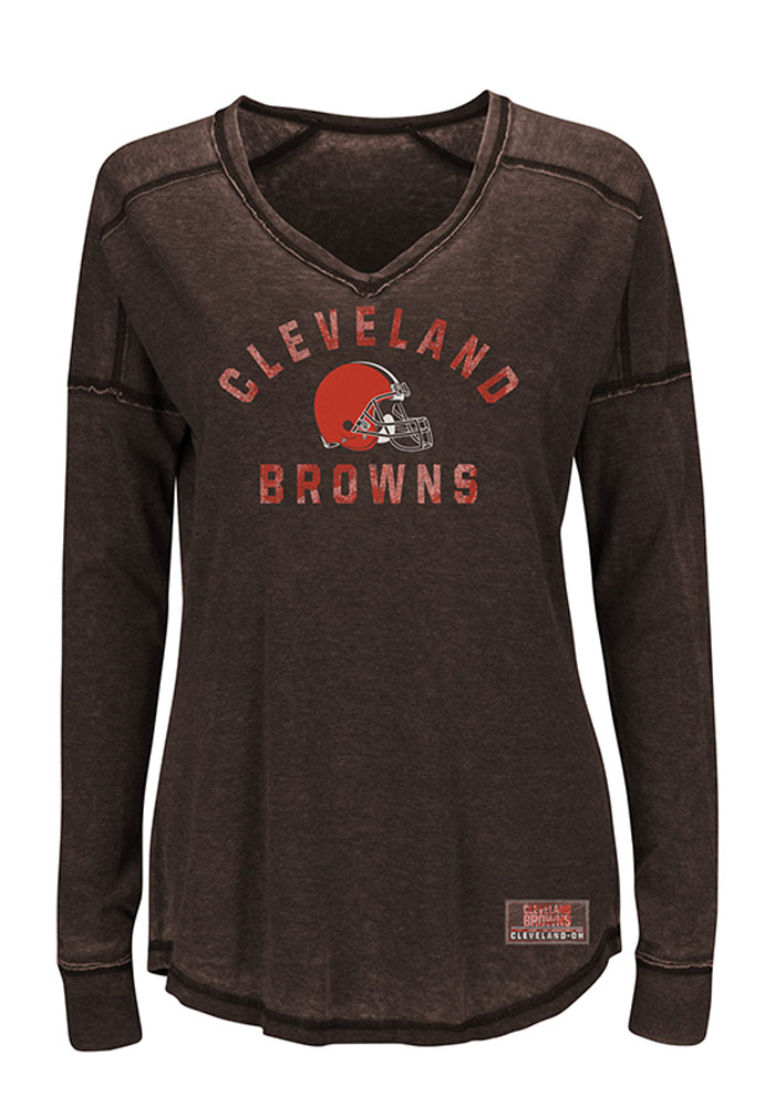 Cleveland Browns Womens Brown Victory Play Long Sleeve T-Shirt - Image 1