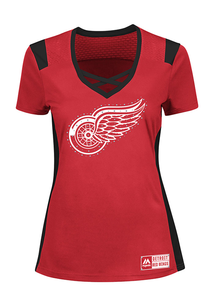 Majestic Detroit Red Wings Womens Majestic Draft Me Fashion Hockey Jersey - Red - Image 1