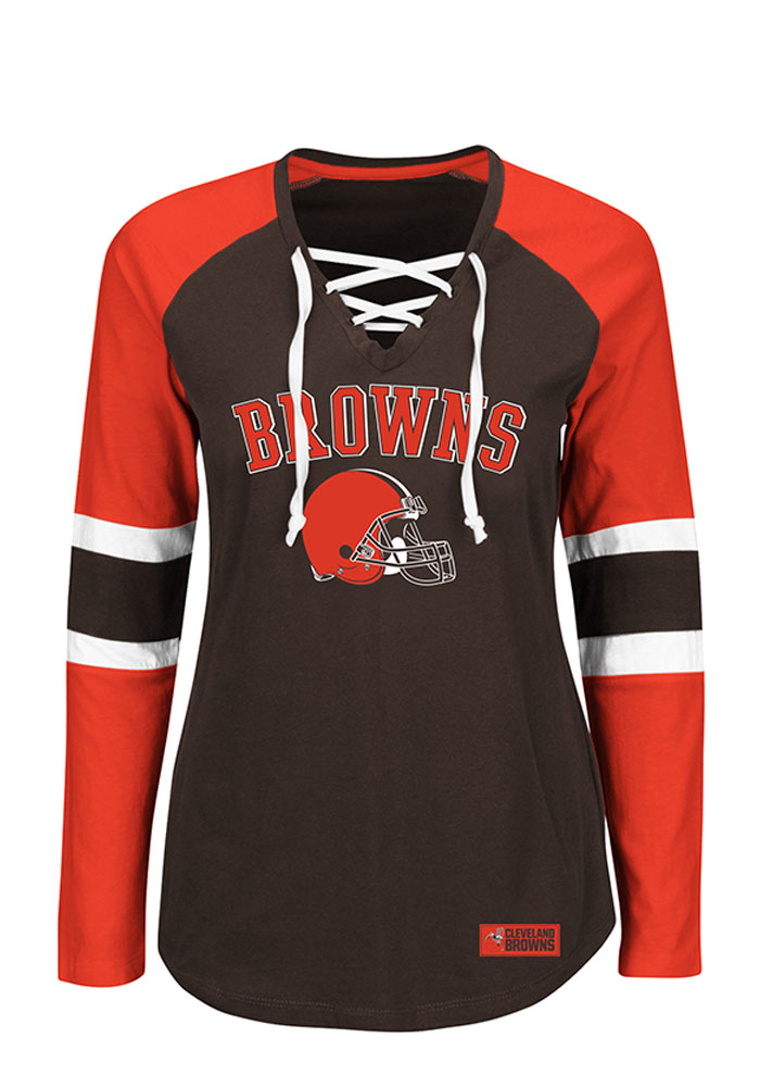 Cleveland Browns Womens Brown Winning Style Long Sleeve T-Shirt - Image 1