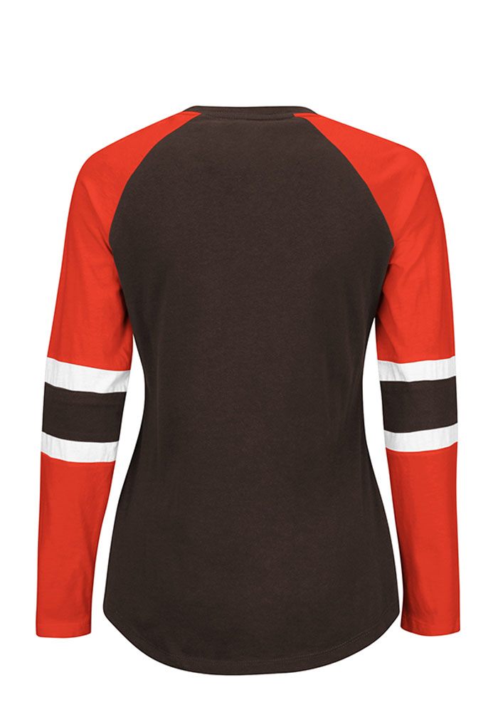 Cleveland Browns Womens Brown Winning Style Long Sleeve T-Shirt - Image 2