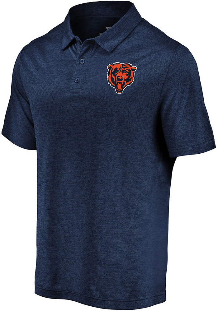 Chicago Bears Mens Navy Blue Striated Primary Short Sleeve Polo - Image 1