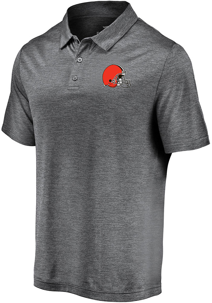 Cleveland Browns Mens Grey Striated Primary Short Sleeve Polo - Image 1