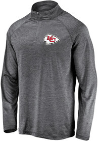 Kansas City Chiefs Striated Raglan 1/4 Zip Pullover - Grey