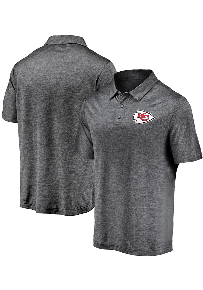 Kansas City Chiefs Mens Grey Striated Primary Short Sleeve Polo - Image 3