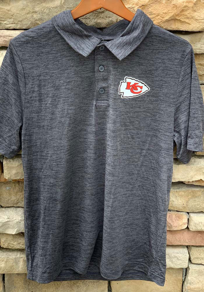 Kansas City Chiefs Mens Grey Striated Primary Short Sleeve Polo - Image 4