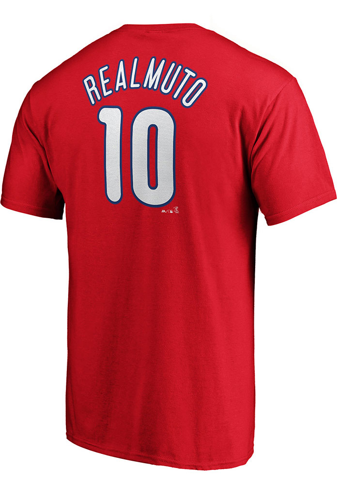 JT Realmuto Philadelphia Phillies Red Name and Number Short Sleeve Player T Shirt - Image 1