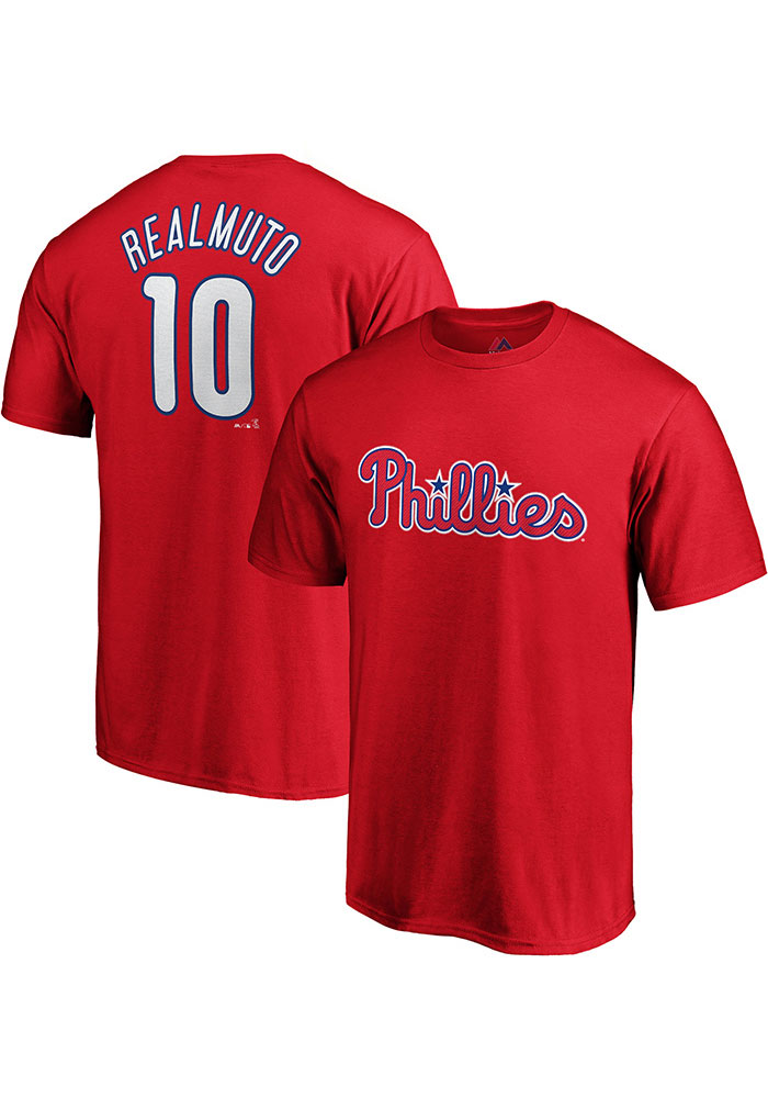 JT Realmuto Philadelphia Phillies Red Name and Number Short Sleeve Player T Shirt - Image 3