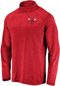 Chicago Bulls Striated Raglan 1/4 Zip Pullover - Red